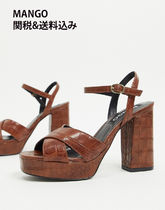 MANGO Open Toe Platform Casual Style Faux Fur Plain Block Heels