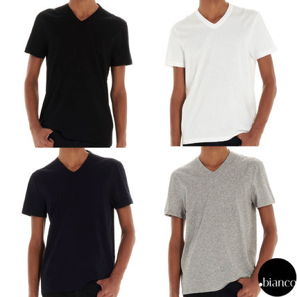 TOM FORD V-Neck Plain Cotton Short Sleeves Designers V-Neck T-Shirts