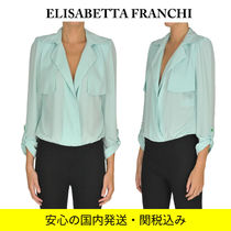 ELISABETTA FRANCHI Cropped Long Sleeves Plain Medium Party Style Office Style