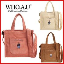 WHO.A.U Casual Style Unisex Street Style Plain Totes