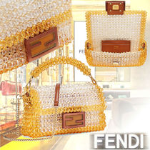 FENDI BAGUETTE Casual Style 3WAY Chain Plain Leather Party Style