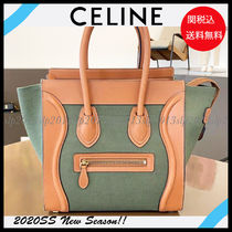 CELINE Luggage Casual Style Calfskin Canvas Blended Fabrics Bag in Bag A4