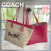 Coach SIGNATURE Monogram Casual Style A4 PVC Clothing Office Style Logo