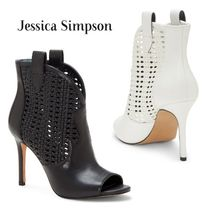 Jessica Simpson Cowboy Boots Open Toe Casual Style Plain Leather Pin Heels
