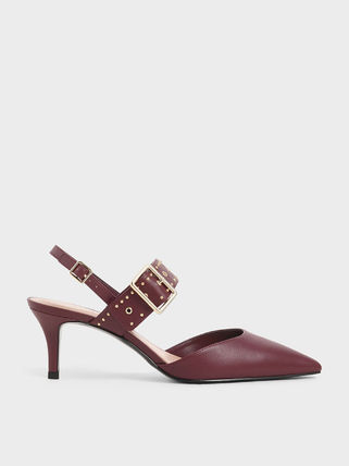Charles&Keith Bridal Casual Style Faux Fur Studded Plain Pin Heels