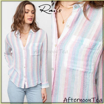 Stripes Long Sleeves Cotton Medium Handmade Shirts & Blouses