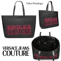VERSACE JEANS Casual Style Nylon Bi-color Office Style Elegant Style Totes