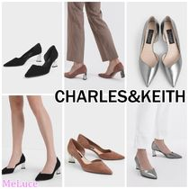 Charles&Keith Plain Toe Casual Style Suede Plain Leather Block Heels