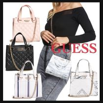 Guess Stripes Casual Style Faux Fur 2WAY Chain Plain Party Style