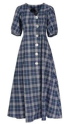 Other Plaid Patterns Casual Style A-line Linen Flared Cotton