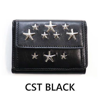 Star Unisex Calfskin Blended Fabrics Studded Plain Leather