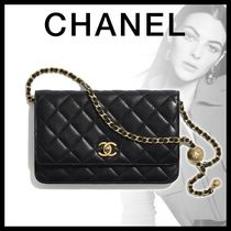 CHANEL CHAIN WALLET Lambskin Chain Plain Leather Chain Wallet Bridal Logo