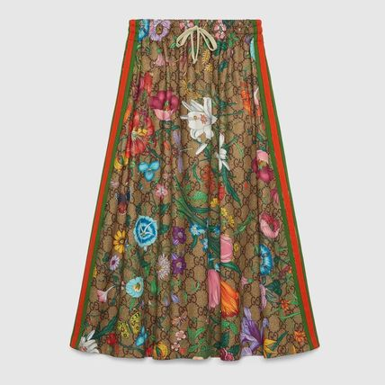 GUCCI Flower Patterns Casual Style Tweed Elegant Style Skirts