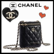 CHANEL ICON Casual Style Lambskin Vanity Bags Chain Plain Elegant Style