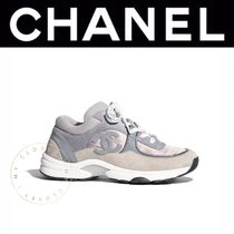 CHANEL ICON Unisex Suede Blended Fabrics Street Style Plain Leather
