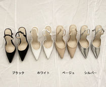 Plain Pin Heels Office Style Pointed Toe Pumps & Mules