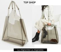 TOPSHOP Casual Style Nylon Plain Crystal Clear Bags Totes