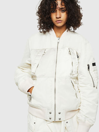 DIESEL Short Street Style Bi-color Plain MA-1 Nylon Jacket