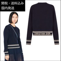 Christian Dior Casual Style Cashmere Long Sleeves Logo Cashmere