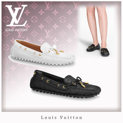 Louis Vuitton Monogram Plain Toe Blended Fabrics Leather Elegant Style