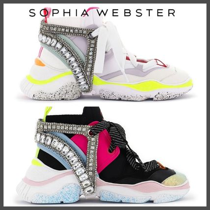 Round Toe Casual Style Unisex Chunky Heels Low-Top Sneakers
