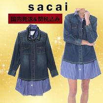 sacai Stripes Casual Style Denim Party Style Shirts & Blouses