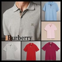 Burberry Other Plaid Patterns Plain Cotton Short Sleeves Logo Polos