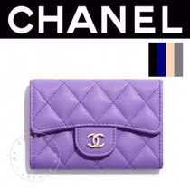 CHANEL MATELASSE Calfskin Street Style Plain Leather Handmade Card Holders