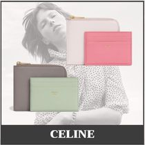 CELINE Unisex Calfskin Leather Small Wallet Co-ord Icy Color
