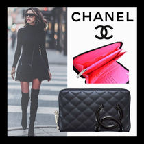 CHANEL CAMBON Calfskin Lambskin Long Wallet  Bridal Logo Long Wallets