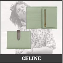 CELINE Calfskin Leather Folding Wallet Small Wallet Icy Color