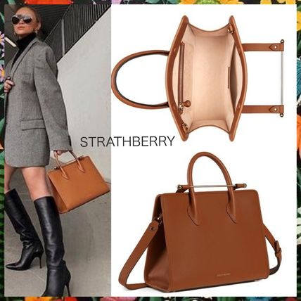 Plain Leather Office Style Elegant Style Handbags
