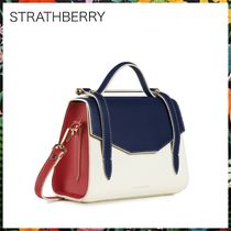 STRATHBERRY Casual Style 2WAY Bi-color Leather Shoulder Bags