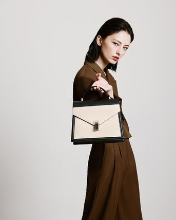 Plain Leather Office Style Elegant Style Formal Style
