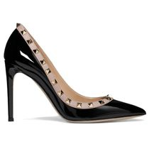 VALENTINO Studded Plain Leather Pin Heels Party Style Office Style