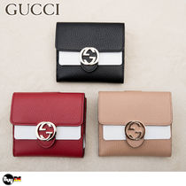 GUCCI Leather Folding Wallet Folding Wallets