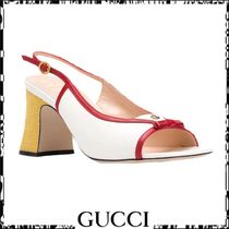 GUCCI Open Toe Casual Style Plain Leather Party Style Office Style