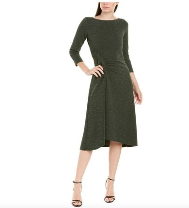 Casual Style A-line Flared Boat Neck Cropped Plain Medium