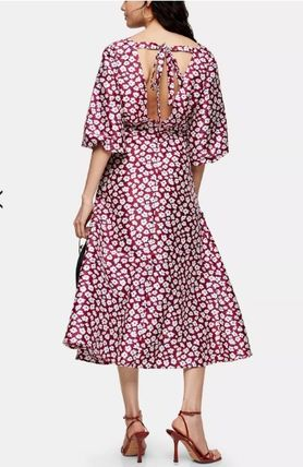 Flower Patterns Casual Style A-line Street Style V-Neck Long