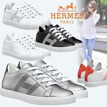 HERMES Stripes Rubber Sole Casual Style Bi-color Leather