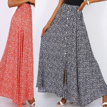 Flared Skirts Flower Patterns Casual Style Maxi Long