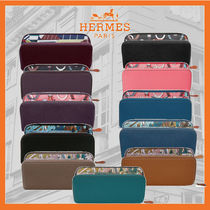 HERMES Silk In Calfskin Blended Fabrics Plain Leather Long Wallet