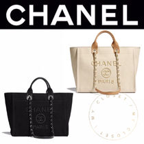 CHANEL DEAUVILLE Casual Style Street Style A4 2WAY Chain Plain Handmade