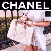 CHANEL DEAUVILLE Chanel tote bag  A4 2WAY Chain Pearls limited beige black