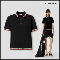 Burberry Other Check Patterns Casual Style Plain Short Sleeves