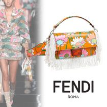 FENDI BAGUETTE Flower Patterns Casual Style 2WAY 3WAY Party Style Fringes