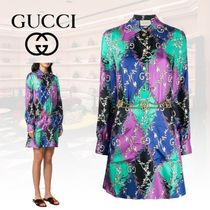 GUCCI Silk Long Sleeves Party Style Elegant Style Shirts & Blouses