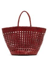 Dragon Diffusion Blended Fabrics Street Style 2WAY Plain Leather Straw Bags