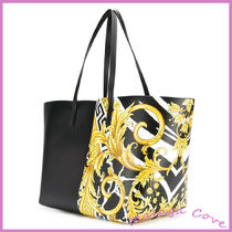 VERSACE Calfskin A4 Elegant Style Logo Totes