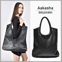 Aakasha Casual Style Street Style A4 Plain Leather Handmade